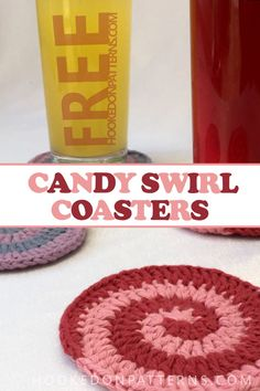 Free Crochet Spiral Coasters Pattern - Candy Swirl Coasters! Crochet yourself some fun spiral coasters with this free crochet pattern. They are super quick and easy to make, which makes them ideal as craft stall fillers or last minute gifts! This is a complete guide-through style pattern, great for beginners to follow! #crochet #coasters #freecrochetpatterns #crafts #handmade #etsy