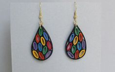 Quilling Earrings Stained Glass Style Small by BarbarasBeautys, $13.00