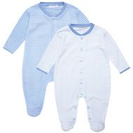 Blue Stripe 2-Pack Baby Sleepsuits jojo