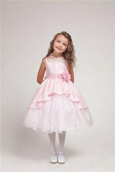 Elegant Pink Satin Flower Girl Dress with Lace Trim -