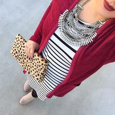 See this Instagram photo by @mixandmatchmel • black and white striped dress boho statement necklace mauve lips maroon longline cardigan leopard fold over clutch taupe fringe booties modest fall winter fashion style blogger