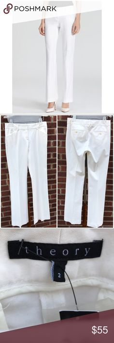 """NWT Theory Bistretch Max C Stretch Pants New with tags  Color is white  Size 2  Waist accross 14.5"""" Rise 8"""" Inseam 32""""  58% cotton 30% rayon 4% spandex Theory Pants Trousers"""