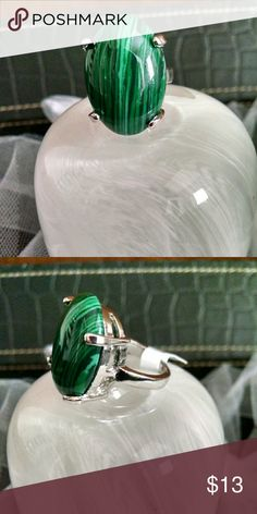 Oval Malachite Statement Ring Sz 8 Huge stone and heavy duty thick silver metal setting and band. Jewelry Rings