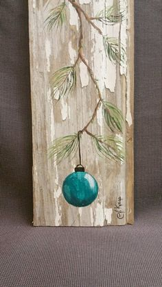 Turquoise - Teal Hand painted Christmas decoration, GIFTS UNDER 25, Pine Branch with Aqua Bulb, Reclaimed barnwood, Pallet art, Shabby chic