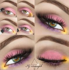 gorgeous colorful eye makeup step by step
