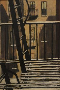 Alice Neel (American, 1900-1984), Fire Escape, 1946. Oil on canvas, 36 x 24 in. Collection of Peggy Brooks.
