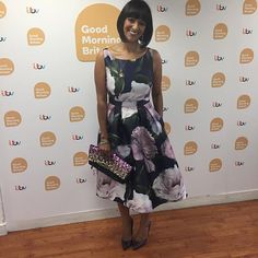 Ranvir Singh wearing @debenhams dress @ted_baker shoes @accessorize clutch ! #beautiful ! 💕💕