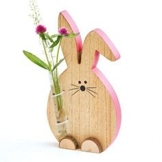 Decorative object rabbit with vase front view- Deko-Objekt Hase mit Vase Vorderansicht Decorative object rabbit with vase front view - Easter Projects, Easter Crafts, Spring Crafts, Holiday Crafts, Wooden Crafts, Diy And Crafts, Diy Ostern, Wooden Animals, Kids Wood