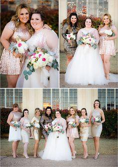Glittery bridesmaids at bright and bold wedding with a lot of character! Captured By: Caroline Rentzel Photography #weddingchicks http://www.weddingchicks.com/2014/07/07/wedding-sign-palooza/