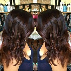 Source Warm dark brown hair color often reminds a chocolate dessert. This wavy dark auburn ombre mimics the complex-yet-satisfying mixture of a turtle brownie