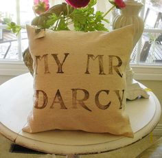 Pillow Slip Sham Jane Austen MY Mr Darcy by LittleLauraStitches, $17.00