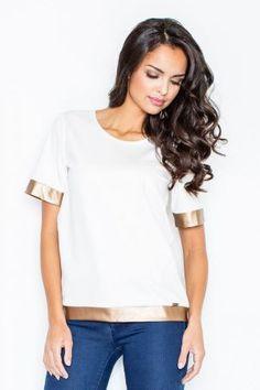 Top with Golden Trim V Neck, Tops, Women, Fashion, Moda, Fashion Styles, Fashion Illustrations, Woman