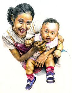 Family Drawing - Color Pencil on Paper