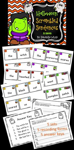 Halloween Scrambled Sentences are perfect for the month of October. This activity will give your students hands-on practice with putting words in the correct order to make a sentence. They will practice using capital letters and punctuation (periods). There are 5 sets with 5 sentences in each set. Each sentence contains 4 to 6 words. Each set has a picture and numbered for easy organization. The recording form and answer key pictures also match the cards in each set.