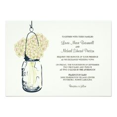 Hydrangea & Mason Jar Wedding Invitations