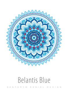 Poster mit Radial-Design • Belantis Blue • cp069.12 • #Poster #rund #radial #Dekoration #Blau #Mandala www.centuryo.com