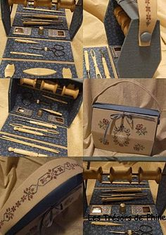 jpg and sewing box ideas (love love love this etui! Sewing Tools, Sewing Notions, Sewing Projects, Sewing Kits, Couture Invisible, Vintage Sewing Box, Sewing Room Storage, Bookbinding Tutorial, Sewing Scissors