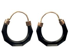 1830-40s Whitby Jet Crescent Hoop Earrings, 9K Gold, English. I'm obsessed.  The shape of these is so unusual for the period.