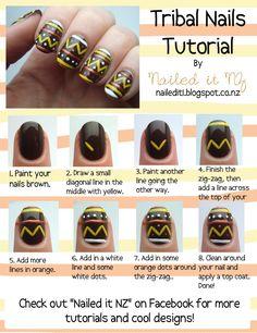 Nailed It NZ: Nail art for short nails #7 - Tribal nails http://nailedit1.blogspot.co.nz/2012/11/nail-art-for-short-nails-7-tribal-nails.html#