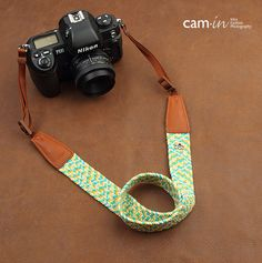 Blue and Yellow Herringbone Camera strap / 8794, Denim leather camera straps Canon/ Nikon /Sony camera straps