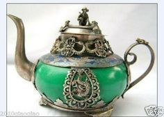 (Eclipse's Vault) China Tibet silver green jade carve dragon monkey teapot. This makes me so happy, and I have no idea why.