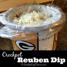 Crockpot Reuben Dip is a favorite appetizer for my family! Only 5 ingredients needed making this a must pin recipe!