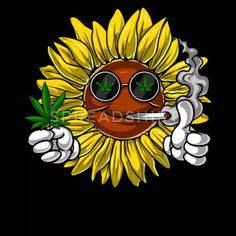 Hippie Sunflower Weed Stoner Women's V-Neck Longsleeve Shirt Hippie Drawing, Hippie Painting, Trippy Painting, Hippie Art, Cute Canvas Paintings, Mini Canvas Art, Art Paintings, Trippy Drawings, Cool Art Drawings