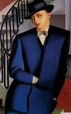 Tamara de Lempicka The Marquis DAfflitto on a Staircase oil painting for sale; Select your favorite Tamara de Lempicka The Marquis DAfflitto on a Staircase painting on canvas or frame at discount price. Art Deco Paintings, Art Deco Artists, Modern Paintings, Beautiful Paintings, Marquis, Pinturas Art Deco, Tamara Lempicka, Moda Art Deco, Estilo Art Deco