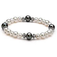 Amazon.com: PearlsOnly Lola Black and White 6.0-9.0mm AA Freshwater Cultured Pearl Bracelet-8-inch: PearlsOnly: Jewelry