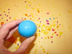 Plastic Egg Painting.  3 options - 1.Water down some paint and shake out paint through a hole at the end. 2. Crack the egg, let the paint spill out to make a picture . 3. Roll the eggs around in the paint.