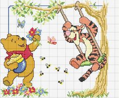 Winnie the Pooh & Tigrou Cross Stitch Fairy, Cross Stitch For Kids, Cross Stitch Heart, Cross Stitching, Cross Stitch Embroidery, Embroidery Patterns, Disney Cross Stitch Patterns, Cross Stitch Designs, Modele Pixel Art