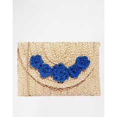 Nali Straw Clutch Bag With Flowers ($25) ❤ liked on Polyvore featuring bags, handbags, clutches, blue, white clutches, straw handbags, flower purse, nali and straw purse