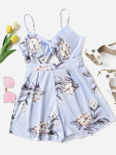 Shop Floral Print Hollow Out Cami Romper online. SheIn offers Floral Print Hollow Out Cami Romper & more to fit your fashionable needs. Cute Girl Outfits, Cute Summer Outfits, Cute Casual Outfits, Pretty Outfits, Stylish Outfits, Girls Fashion Clothes, Teen Fashion Outfits, Outfits For Teens, Girl Fashion