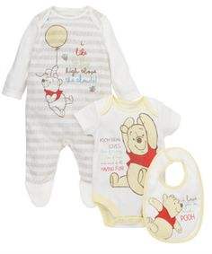 Mothercare Winnie the Pooh 3 Piece Set. This adorable set includes a Winnie the Pooh sleepsuit, bodysuit and bib with gorgeous embroidery details.