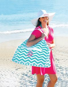 Finally back in stock!  These go fast, so order now!  Personalized Monogrammed Large Beach Bag by ThreadsOnSignal, $29.95