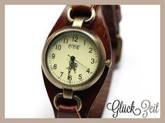 Echtleder+Vintage+X+Armbanduhr+Leder+UNISEX+braun+von+GlückZeit+auf+DaWanda.com
