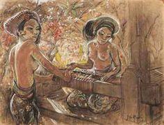 Adrien Jean Le Mayeur de Merprès - Two women at the loom