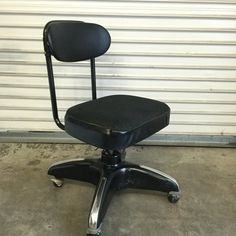 Black Office Chair, Vintage Desk Chair, Mid Century Desk Chair, Tanker Chair With Propeller Base, Swivels On Casters Rolling