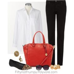 Simplicity is Elegance - black skinny jeans, white shirt, tiny bit of leopard and a pop of coral 40+ 50+ 60+ midlife chic/ style/ fashion