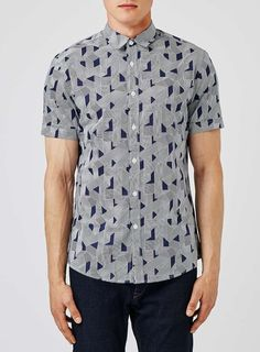RELIGION Blue Geo Print Short Sleeve Shirt