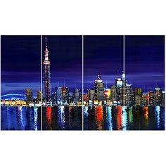 Design Art Toronto at Night, 4 Pieces, 48 inch x 28 inch, Multicolor