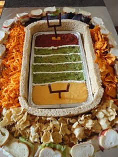 A great idea for several appetizers for the big game!  A snackadium.