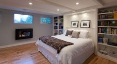 Recessed lighting and spotlights are both great choices for a basement bedroom