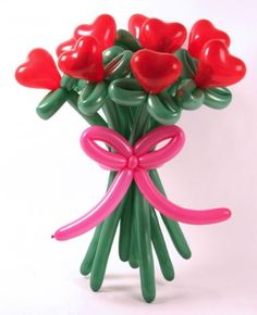Flower bouquets of balloons    Making flower bouquets of balloons is one of unique Valentines Day ideas that are simple and impressive.