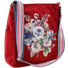 Cottage Rose Velvet Washed Messenger Bag