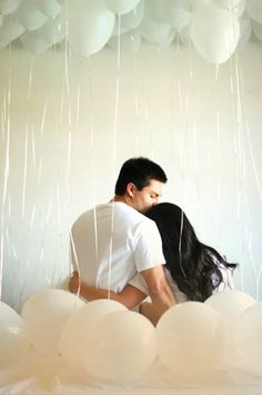 Dreamy engagement photo idea - love the balloons. Photo by Honey Honey Photography. www.wedsociety.com #engagement #photo
