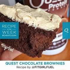 LIKE if you want to take a bite out of these #CookClean Chocolate Brownies!   This Fan Recipe of the Week by #FitGirlFuel uses Chocolate Milkshake Quest Protein Powder and is guaranteed to please any chocolate lover. Best time to serve? Anytime.   Macros per serving (serves 8): Calories: 192. Protein: 16g. Fat: 5.1g. Net Carbs: 10g.