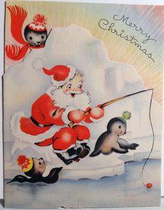 Vintage Santa Fishing Christmas Card
