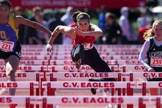 Cumberland Valley's Rachael DeCecco runs in a 100 meter hurdles heat during the Bruce Dallas Invitational track and field meet at Cumberland Valley High School in Silver Spring Township. PAUL CHAPLIN, The Patriot-News