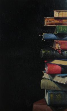 Ephraim Rubenstein, Book Pile XXIX, oil on linen. Book Wallpaper, Wallpaper Backgrounds, Iphone Wallpaper, Book Photography, Creative Photography, Photos Amoureux, Powerpoint Background Design, Book Background, Book Aesthetic